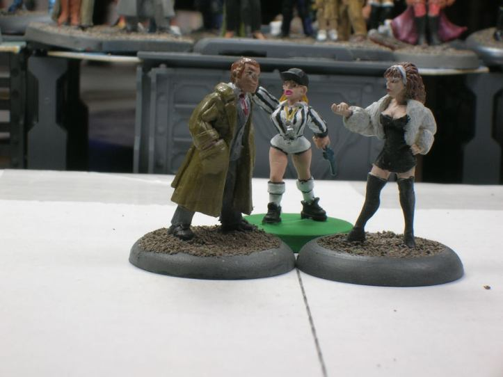 Proxy minis for Betty Caruso, her opponent, & the referee