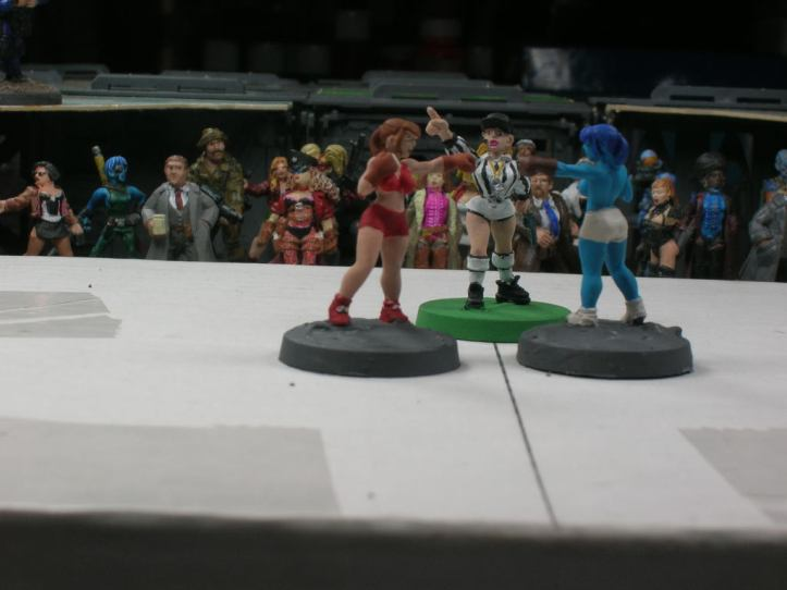 Boxers meet in center ring. Figures by Ground Zero Games & Shadowforge