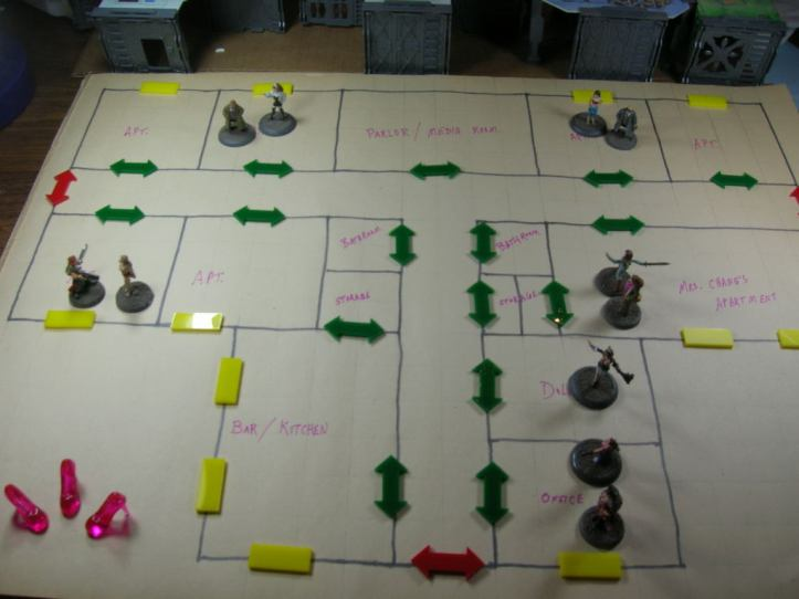 Gameboard layout at the start of the game.