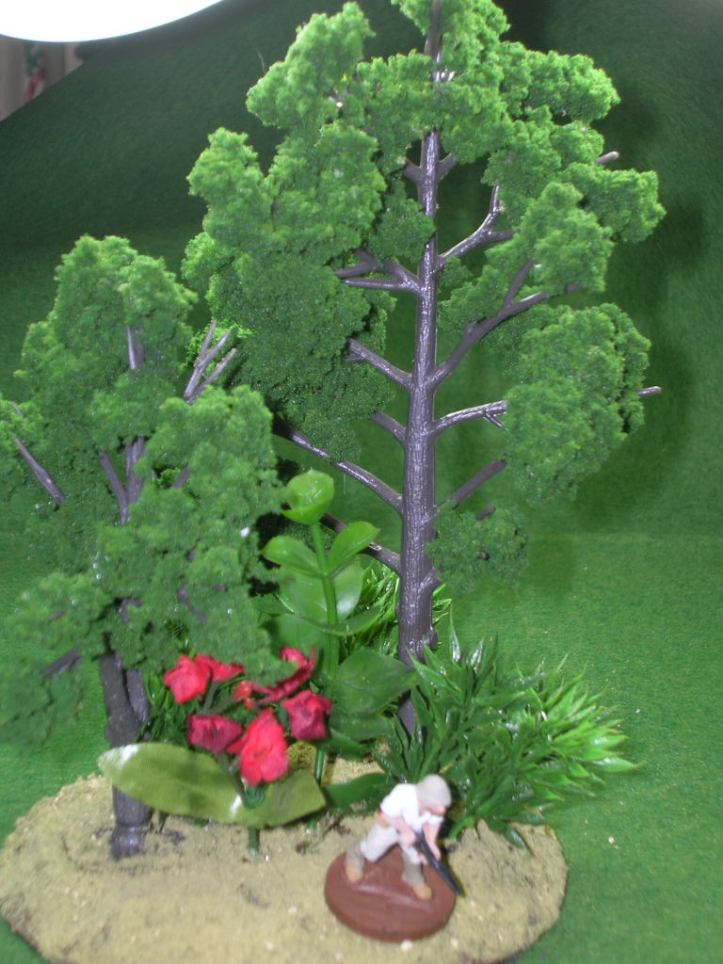 Jungle forest terrain - trees from Woodland Scenics; plants from Michael's