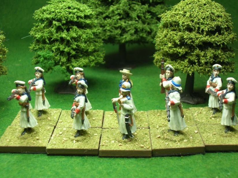 Sailors commanded by Lt. Jane Powell - figures by Hinterland Miniatures