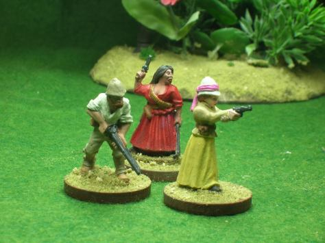 Alice Kingsley, Lady Hamilton, Sir Geoffrey, & her maid Caterina. (figures by Foundry & Old Glory)