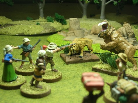 Montana Jane's party is attacked by Lemurian Lions