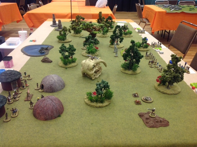 The table set up before the 1st game session of the day.