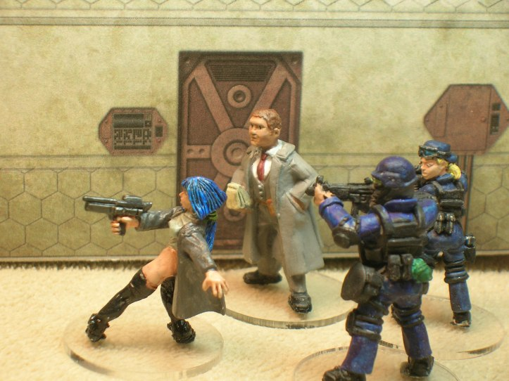 The Sally Blue figure is from Shadowforge, the other figures are Foundry.