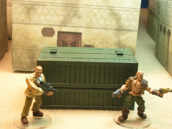 Side view of weapons locker. Figure on left by Foundry; figure on right by Reaper.