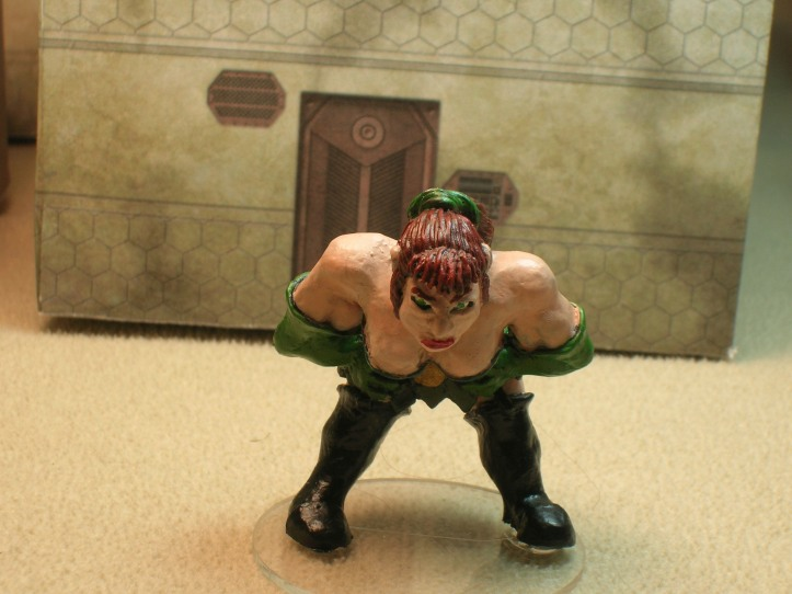 Known on the streets as Roxxy the Ogress, Roxxy is a GAX (actually an Elfball Ogress from Impact Miniatures)