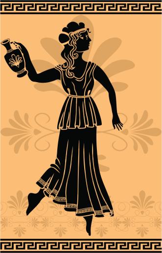 greek woman with amphora stencil