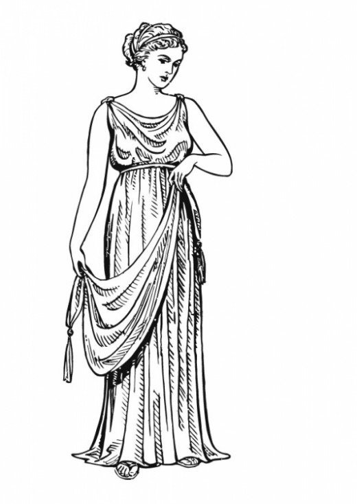 The chiton after pinning, draping, & belting.