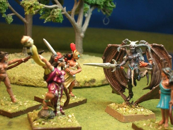 Nymphs defend against a demon.