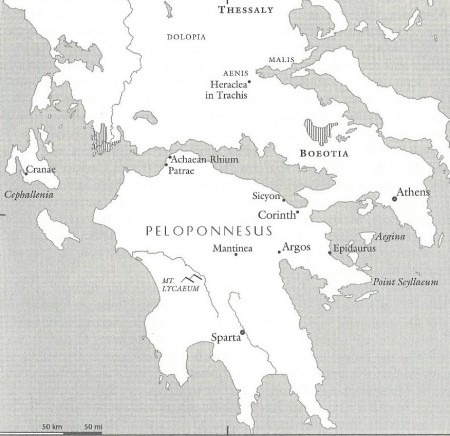 Map of the Peloponnesus from The Landmark Thucydides