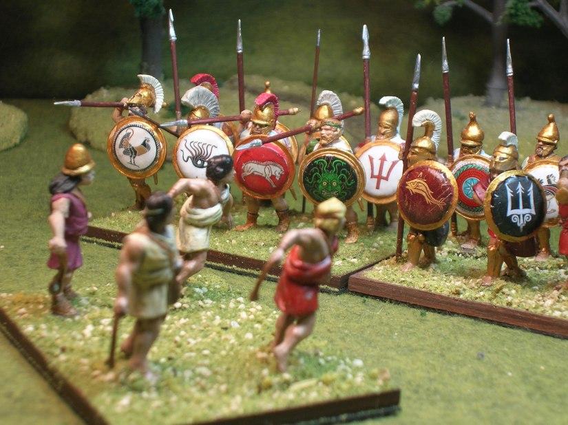 Spartan slingers attacking Mantinean hoplites