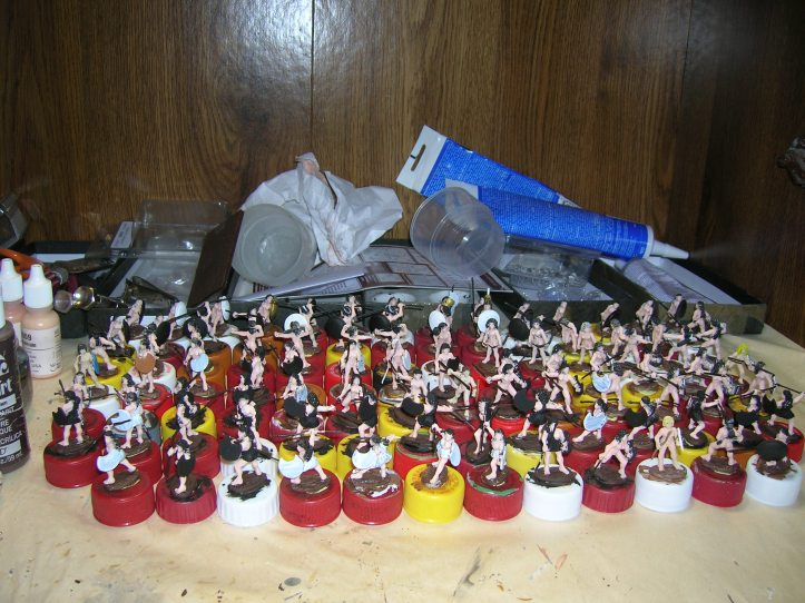 96 figures with completed skin & bases painted
