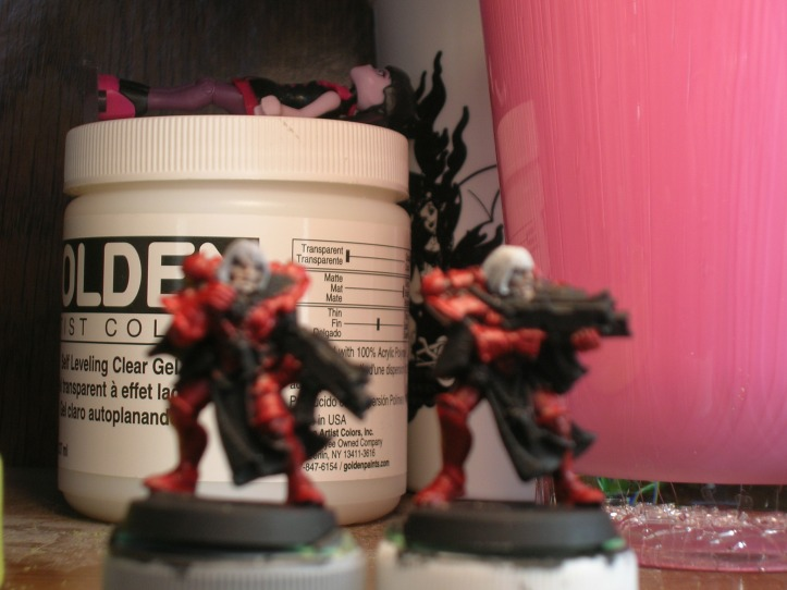 Sisters with Reaper Blood Red base coat - Note: Both the under coat & base coat were built using several thin layers of paint which help with shading.